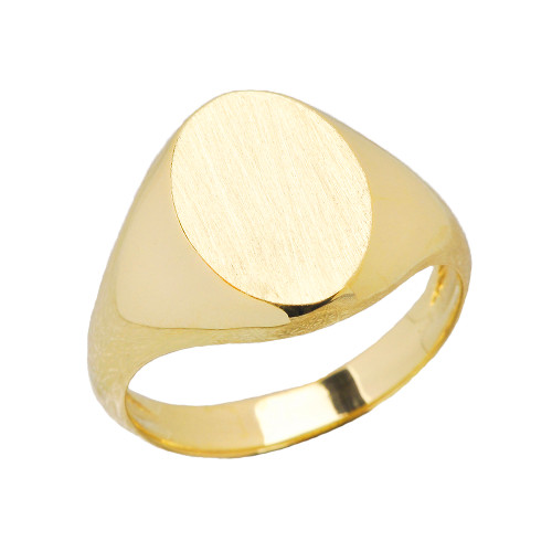 Men's Engravable Oval Signet Ring in Yellow Gold
