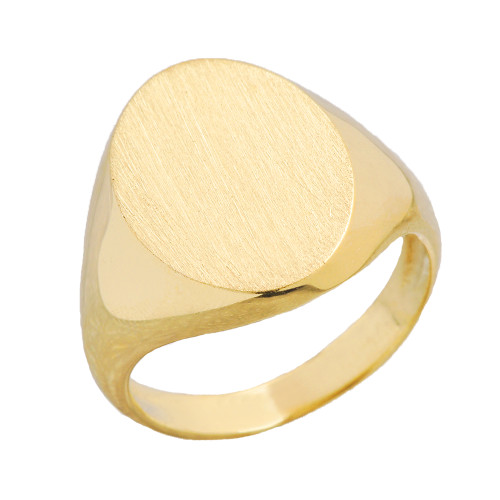 Men's Bold Engravable Oval Signet Ring in Yellow Gold
