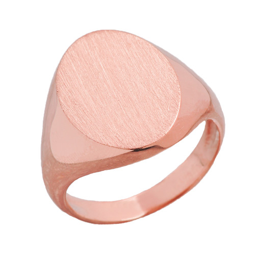 Men's Bold Engravable Oval Signet Ring in Rose Gold