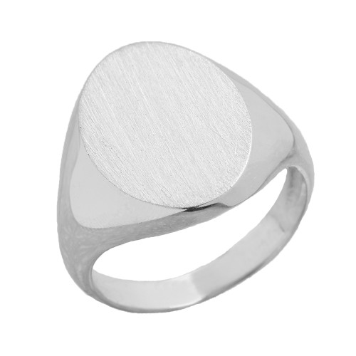 Men's Bold Engravable Oval Signet Ring in Sterling Silver
