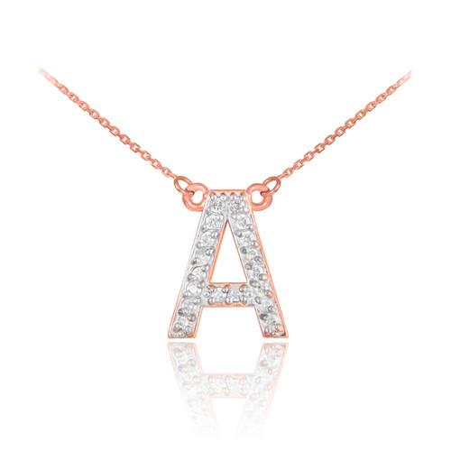 "14K Rose Gold Letter ""A-Z"" Diamond Initial Monogram Necklace"