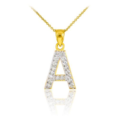 "Yellow Gold Letter ""A-Z"" Initial Diamond Monogram Pendant Necklace"