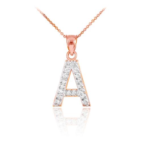 "Rose Gold Letter ""A-Z"" Initial Diamond Monogram Pendant Necklace"