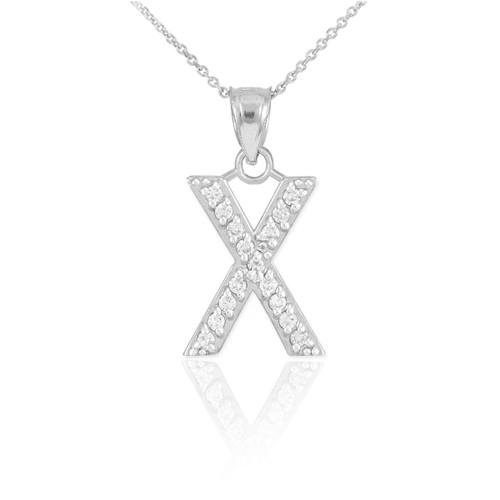 "Sterling Silver Letter /""L/"" Initial CZ Monogram Pendant Necklace"