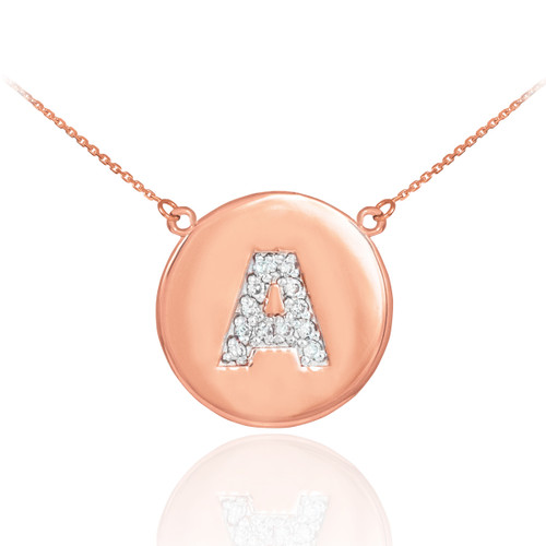 """14K Rose Gold Letter """"A-Z"""" Initial Diamond Disc Necklace"""