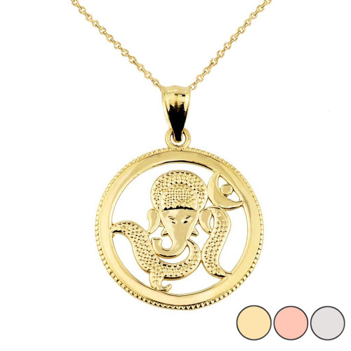 Lord Ganesha Charm Pendant Necklace in Gold (Yellow/Rose/White)
