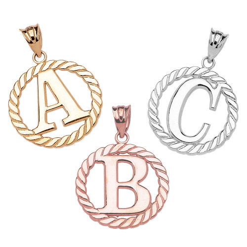 "Solid Gold ""A-Z"" Initial in Rope Circle Pendant Necklace (Yellow/White/Rose)"