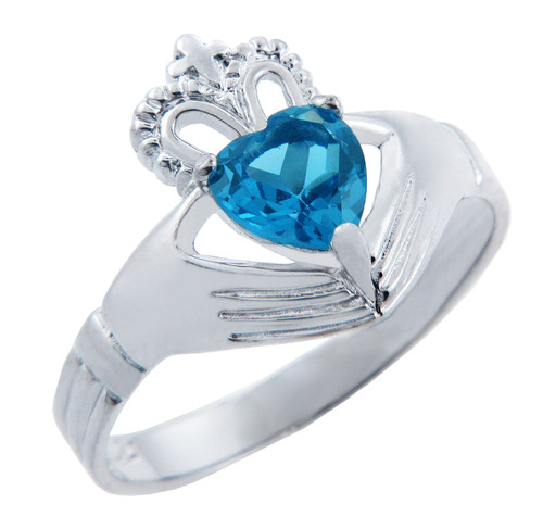 Silver Claddagh Ring with Blue CZ Birthstone.