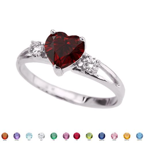 14k White Gold Birthstone Heart Proposal/Promise Ring  (12 Birthstones)