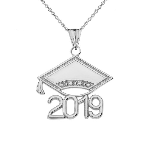 Class of 2019 Graduation Cap Pendant Necklace In Sterling Silver