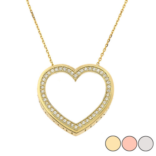"""Valentine's Diamond Heart """"I LOVE YOU"""" Necklace in Gold (Yellow/Rose/White) (0.75"""")"""