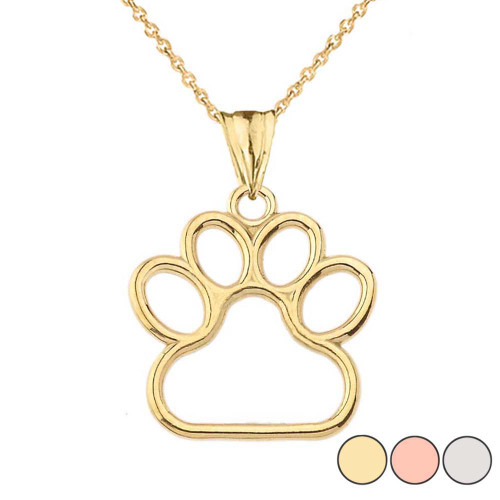 Dainty Dog Paw Print Pendant Necklace In Gold (Yellow/Rose/White) (0.80'')