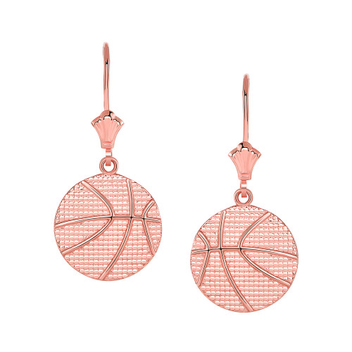 Basketball Leverback Earrings in 14k Rose Gold