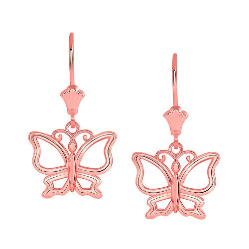 Butterfly Leverback Earrings in 14K Rose Gold