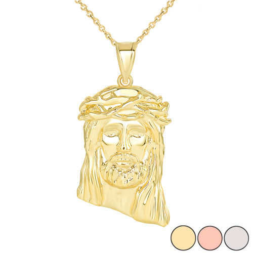 Jesus Christ  Head Large Pendant Necklace in Gold (Yellow/ Rose/White) (1.54 IN)