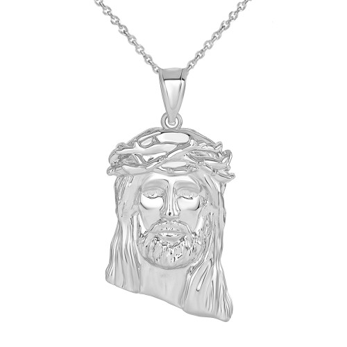Jesus Christ  Head Large Pendant Necklace in Sterling Silver (1.54 in)