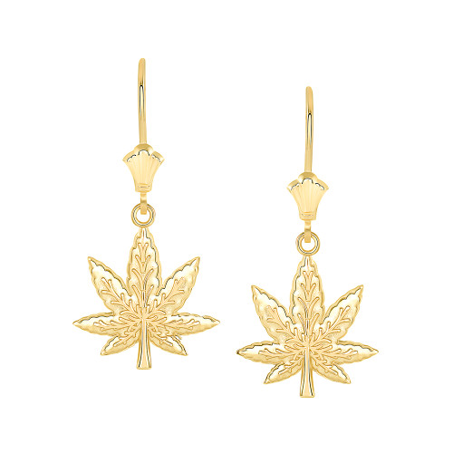 Marijuana Weed Leverback Earrings in Yellow Gold