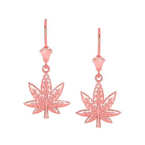 Marijuana Weed Leverback Earrings in 14K Rose Gold
