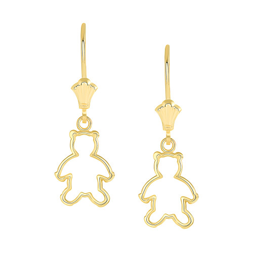Dainty Teddy Bear Leverback Earrings in Yellow Gold