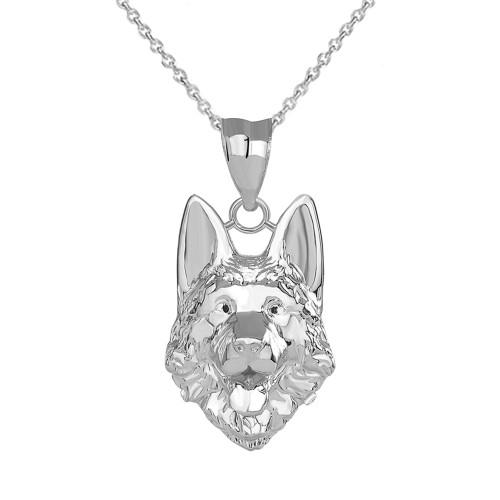 German Shepherd Head Pendant Necklace in Sterling Silver