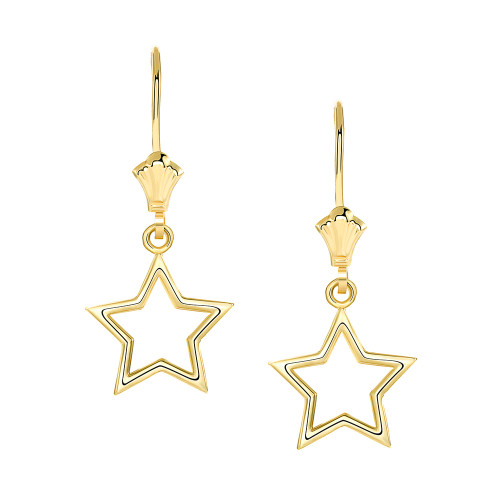 Polished Star Leverback Earrings in Yellow Gold