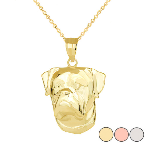 American Bulldog Head Pendant Necklace in Gold (Yellow/ Rose/White)