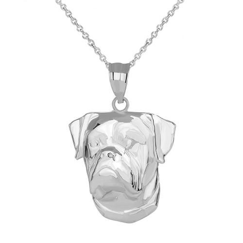 American Bulldog Head Pendant Necklace in Sterling Silver