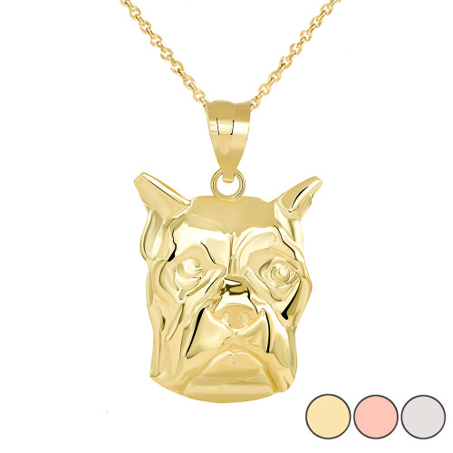 Boxer Dog Head Pendant Necklace in Gold (Yellow/ Rose/White)