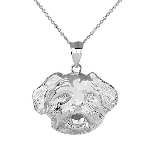 Maltese Dog Head Pendant Necklace in Sterling Silver