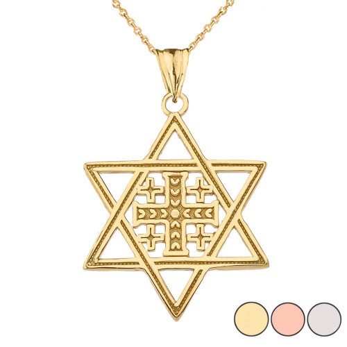 Jerusalem Cross in Star of David Pendant Necklace In Gold (Yellow/Rose/White)