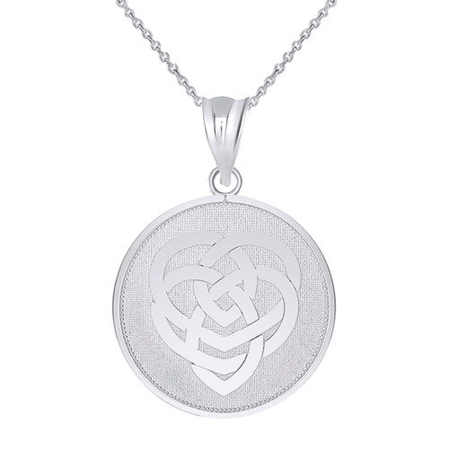 Celtic Knot Motherhood Disc Pendant Necklace in Sterling Silver