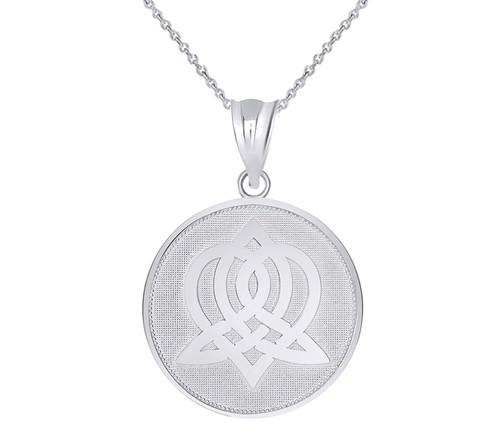 Celtic Knot Sisterhood Disc Pendant Necklace in Sterling Silver