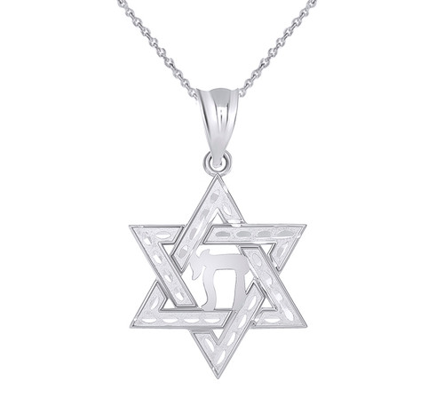 Jewish Star of David with Chai Pendant Necklace in Sterling Silver