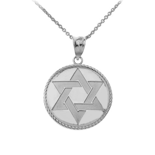 Star of David Medallion Pendant Necklace in Sterling Silver