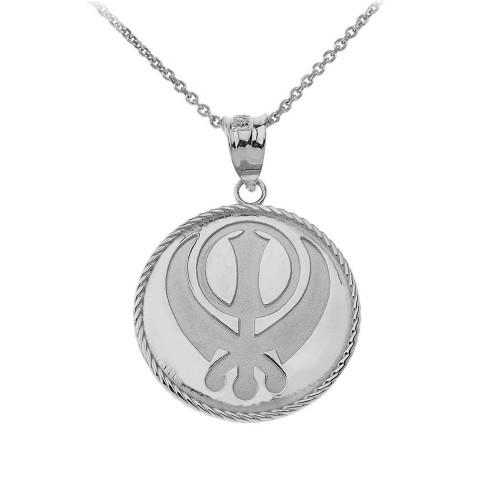 Sikh Khanda Punjabi Sword Symbol Medallion Pendant Necklace in Sterling Silver