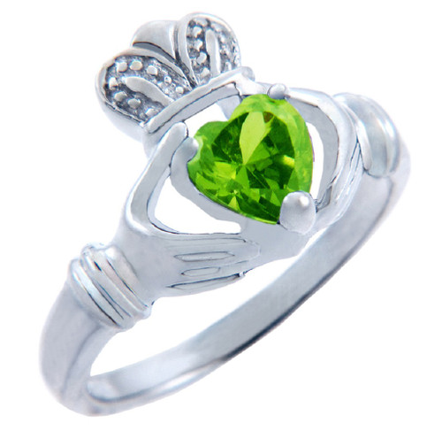 Silver Claddagh Ring with Peridot CZ Heart