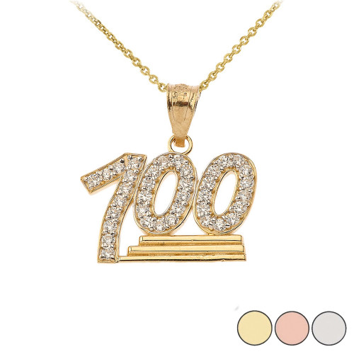 100 Points Emoji CZ Pendant Necklace in Gold (Yellow/ Rose/White)