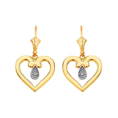 Open Heart Two-Tone Diamond Leverback Earrings in Yellow Gold