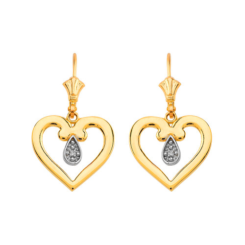 Open Heart Two-Tone Diamond Leverback Earrings in Yellow Gold