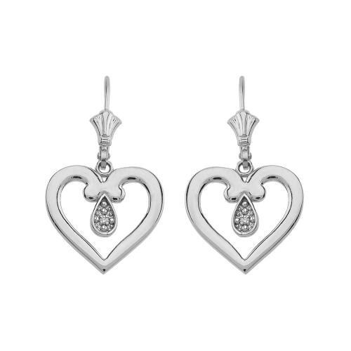 Open Heart Diamond Leverback Earrings 14K in White Gold