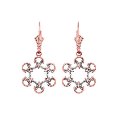 Openwork Filigree Two-Tone Leverback Earrings 14K in Rose Gold