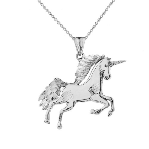 Unicorn Pendant Necklace in Sterling Silver