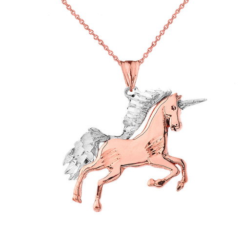 Unicorn Pendant Necklace in Two-Tone Rose Gold