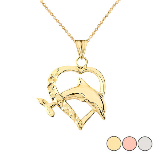 Heart Dolphin Love Pendant Necklace in Gold (Yellow/Rose/White)