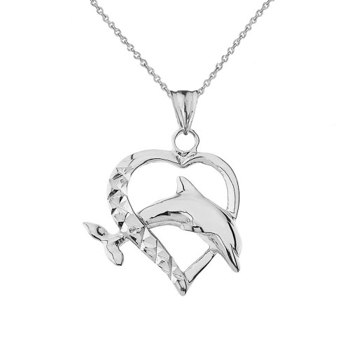 Heart Dolphin Love Pendant Necklace in Sterling Silver