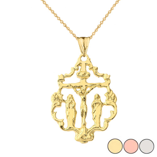 Jesus Crucification Cut Out Pendant Necklace in Gold (Yellow/ Rose/White)