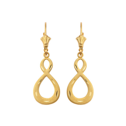 Satin Finish Infinity Symbol Leverback Earrings in Yellow Gold