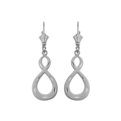 Satin Finish Infinity Symbol Leverback Earrings 14K in White Gold