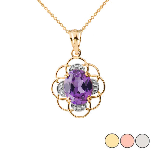 Amethyst Flower of Life Pendant Necklace in Gold (Yellow/Rose/White Gold)