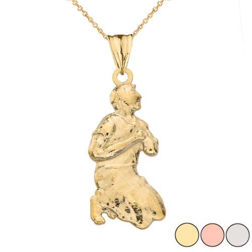 """Milagros"" Miracle Praying Man Pendant Necklace in Gold (Yellow/Rose/White Gold)"